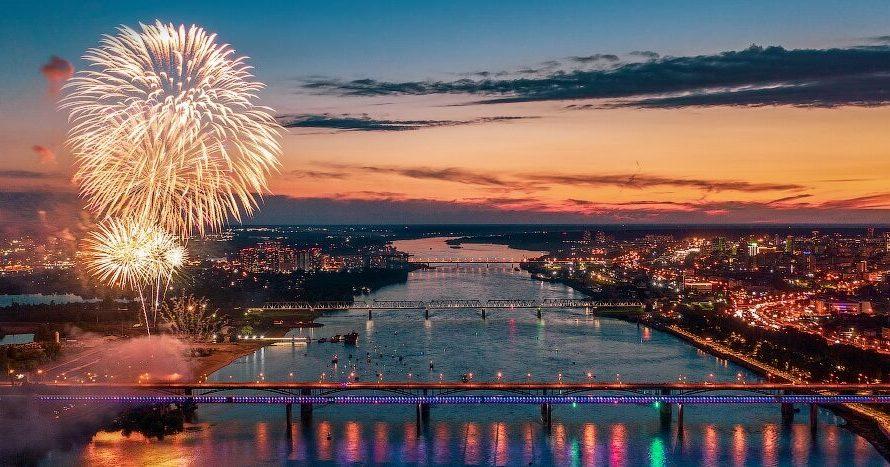 Салют на День Победы в Новосибирске